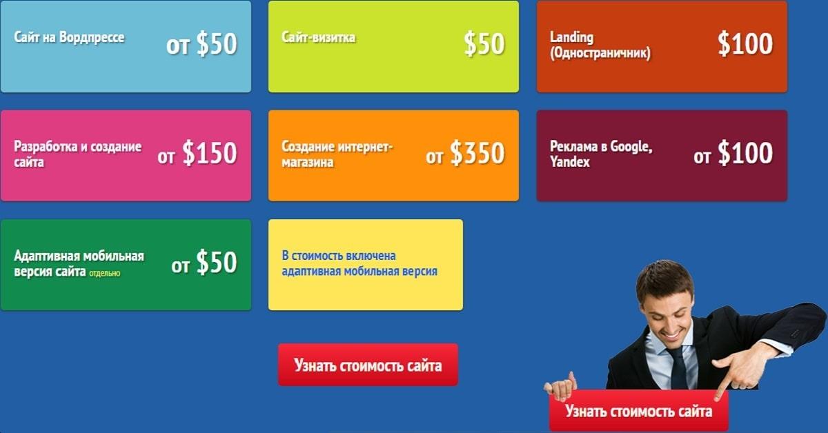 Список страниц. Создание сайтов Одесса | Карта сайта веб студии Сайт Сделан в Одессе