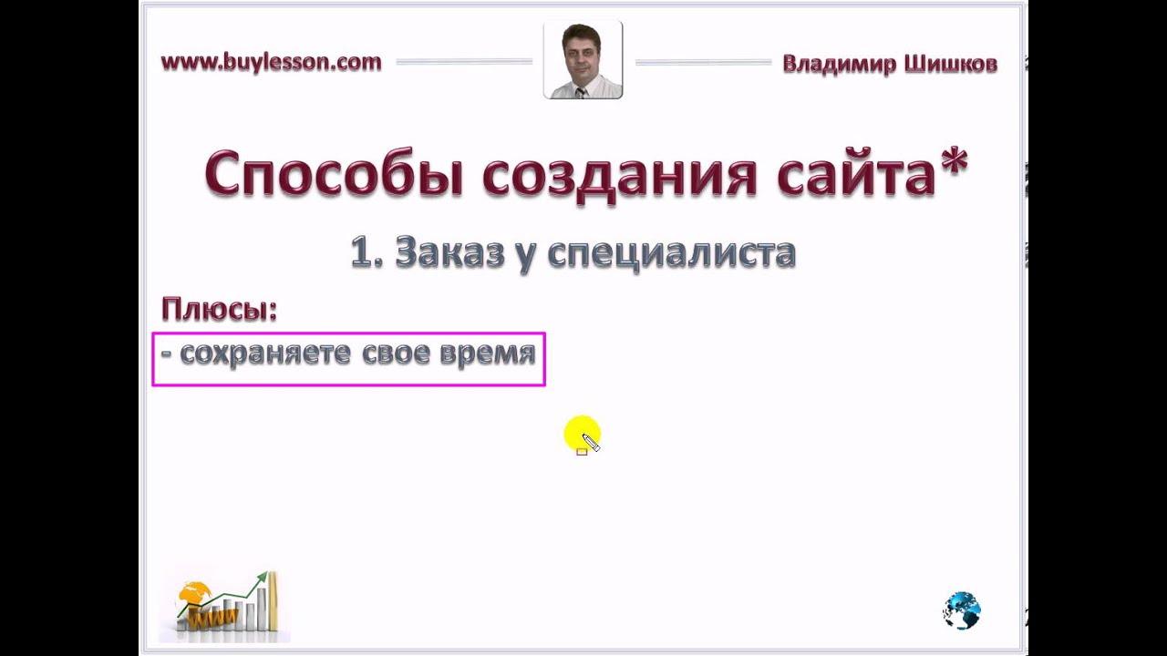 Видеоурок Сайты Способы создания сайтов